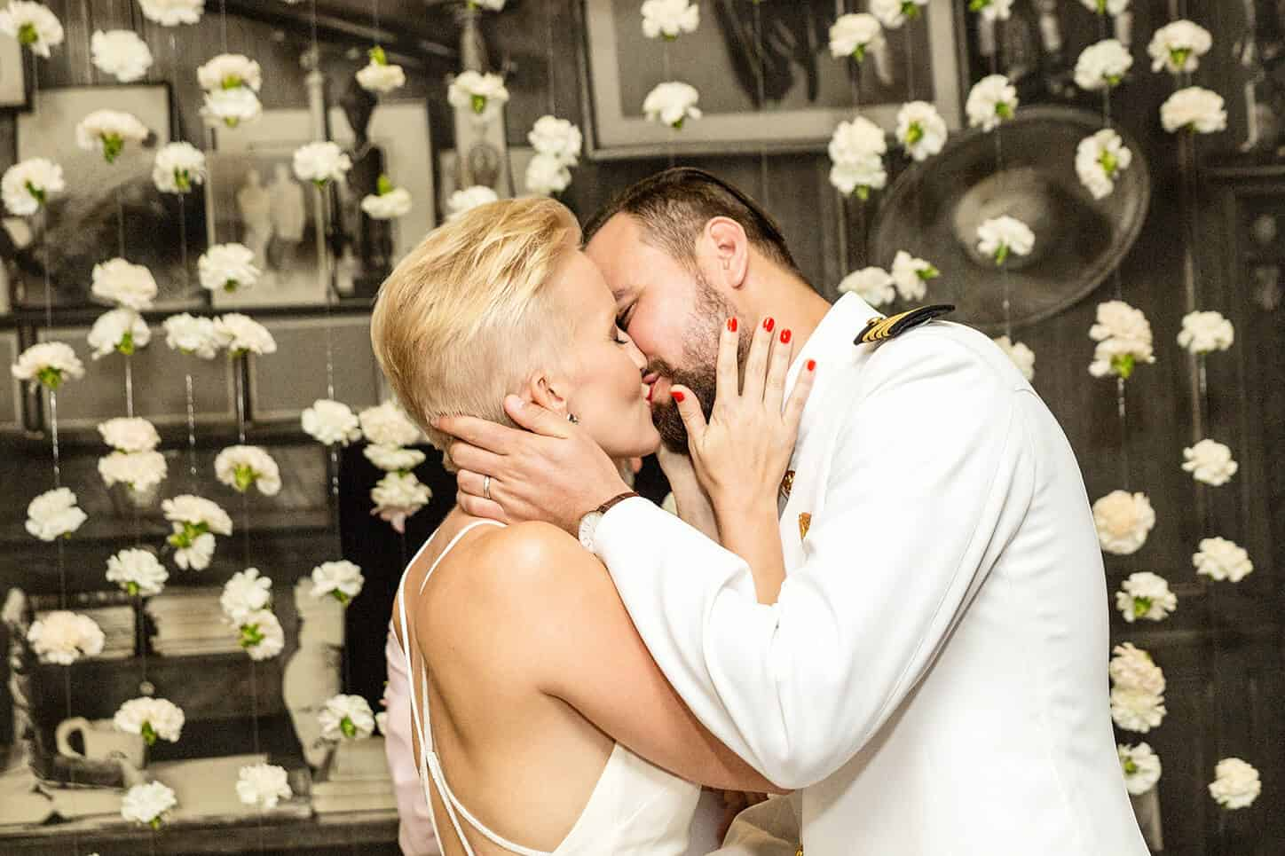 Photo of Newlywed husband & Wife First Kiss | For The Secrets To Hiring The Best Wedding Photographer in Naples, FL Post